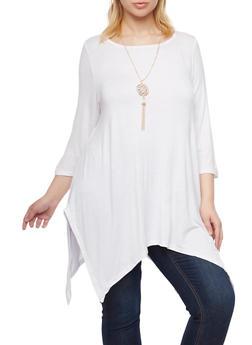 Plus Size Sharkbite Hem Top with Necklace - WHITE - 1917038341992