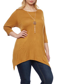 Plus Size Sharkbite Hem Top with Necklace - GOLD - 1917038341992