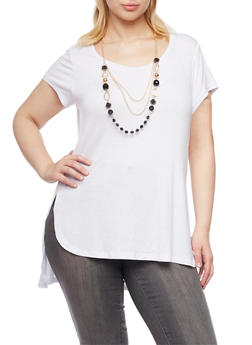 Plus Size Short Sleeve Top with Removable Necklace - WHITE - 1917038341993