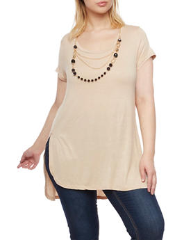Plus Size Short Sleeve Top with Removable Necklace - 1917038341993