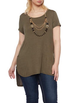 Plus Size Short Sleeve Top with Removable Necklace - GREEN - 1917038341993