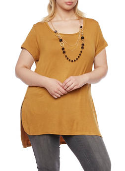 Plus Size Short Sleeve Top with Removable Necklace - GOLD - 1917038341993