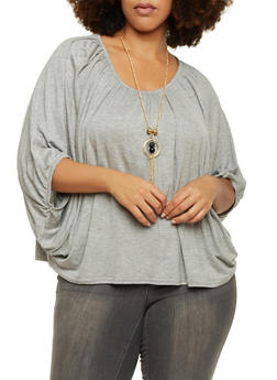 Plus Size Top with Bat Wing Sleeves and Necklace - 1917038341994