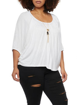 Plus Size Top with Bat Wing Sleeves and Necklace - WHITE - 1917038341994
