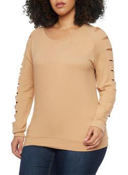 Plus Size Slashed Long Sleeve Brushed Knit Top - 1917038347094