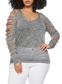 Plus Size Slashed Sleeve Sweater - 1917038347096
