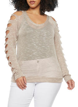 Plus Size Slashed Sleeve Sweater - 1917038347096