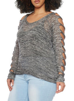 Plus Size Marled Cut Up Sleeve Sweater - 1917038347709