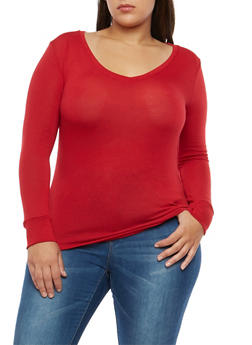 Plus Size V Neck Basic Top - 1917038349002
