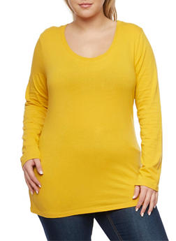 Plus Size Long Sleeve Top with Scoop Neck - GOLD - 1917054260027