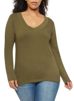 Plus Size Basic Wide V Neck Top - 1917054260072