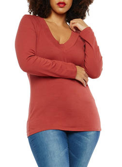 Plus Size Basic Wide V Neck Top - 1917054260072