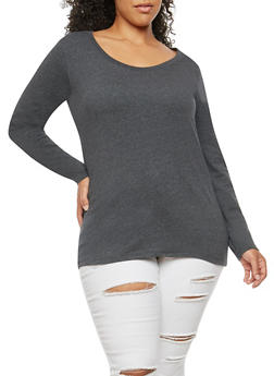 Plus Size Basic Scoop Neck Top - 1917054260076