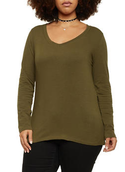 Plus Size Long Sleeve Top with V Neck - OLIVE - 1917054260090