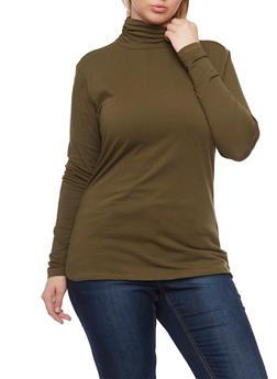 Plus Size Long Sleeve Turtleneck Top - OLIVE - 1917054260225