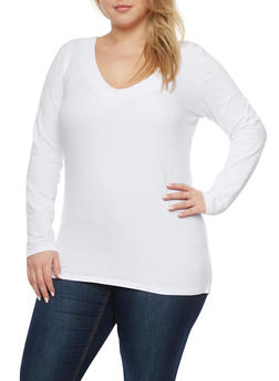 Plus Size Long Sleeve Top with V Neck - WHITE - 1917054260572