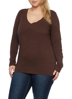 Plus Size V Neck Long Sleeve Top - 1917054260572