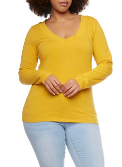 Plus Size V Neck Long Sleeve Top - GOLD - 1917054260572