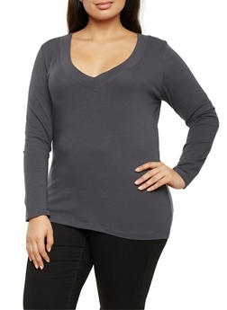 Plus Size V Neck Long Sleeve Top - 1917054260572