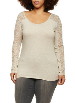 Plus Size Long Sleeve Top with Lace Paneling - 1917054266380