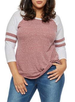 Plus Size Color Block Striped Sleeve Top - 1917054267881
