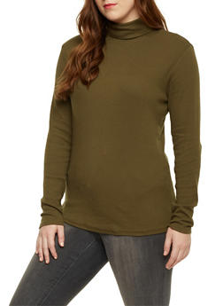 Plus Size Turtleneck Top in Ribbed Knit - 1917054267933