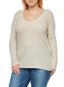 Plus Size Basic Thermal V Neck Top - 1917054268921
