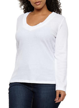 Plus Size V Neck Thermal Top - WHITE - 1917054268922