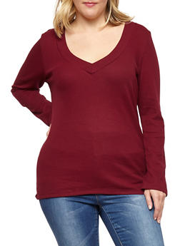 Plus Size V Neck Thermal Top - 1917054268922