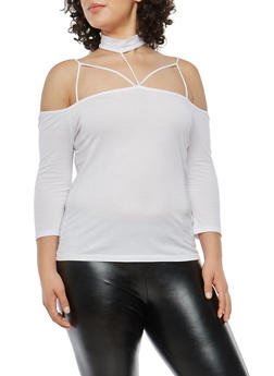Plus Size Choker Neck Off the Shoulder Top - 1917054269771