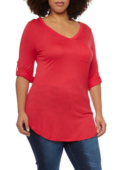 Plus Size V Neck Button Cuff Sleeve Tunic Top - 1917058930822