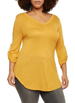 Plus Size V Neck Button Cuff Sleeve Tunic Top - MUSTARD - 1917058930822