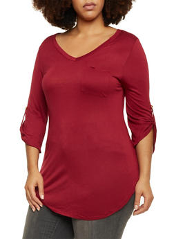Plus Size V Neck Tunic Top with Button Cuff Sleeves - BURGUNDY - 1917058930822