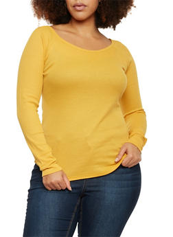 Plus Size Thermal Knit Long Sleeve Top - MUSTARD - 1917066240615