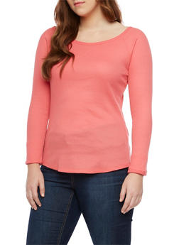 Plus Size Thermal Knit Long Sleeve Top - 1917066240615