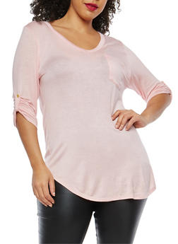 Plus Size Tabbed Sleeve Basic Top - 1917074280113