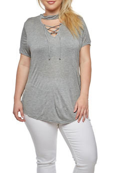Plus Size Lace Up T Shirt - 1917074280329