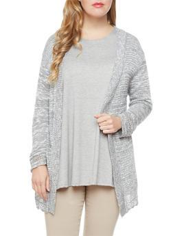 Plus Size Two-Tone Open-Knit Cardigan,GRAY,medium