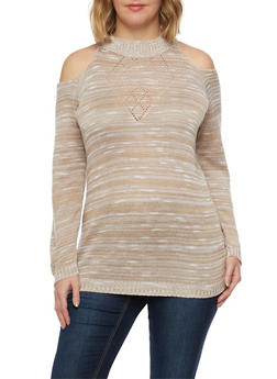 Plus Size Cold Shoulder Sweater in Marled Knit - 1920018231218