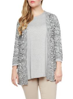 Plus Size Open-Knit Longline Cardigan With Rib-Knit Trim,BLACK,medium