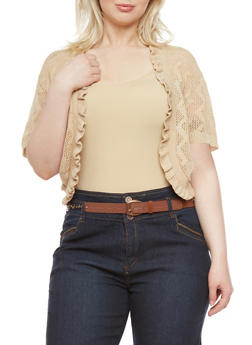 Plus Size Knit Shrug with Ruffle Trim - 1920018232019