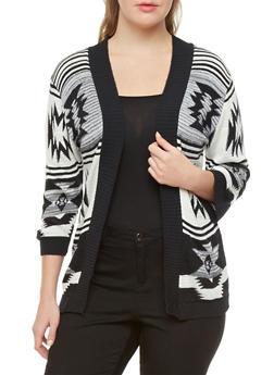 Plus Size Open-Front Aztec Print Cardigan With Three-Quarter Sleeves,BLACK,medium