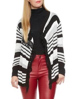 Plus Size Frayed Mixed Knit Open-Front Cardigan,BLACK COMBO,medium