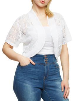 Plus Size Crochet Open Front Shrug Cardigan - 1920018232560