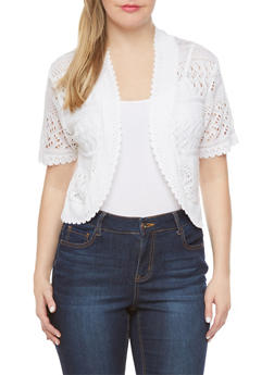 Plus Size Pointelle Cardigan with Open Front - 1920018237092