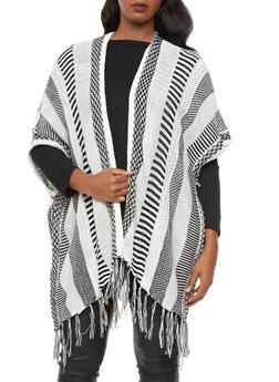 Plus Size Contrast Knit Sweater With Open Front And Fringed Trim,BLACK,medium