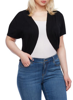Plus Size Knit Shrug With Ribbed Trim And Half Sleeves - 1920038346401