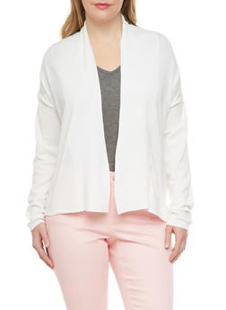 Plus Size Open Cardigan with Textured Back - 1920038346406