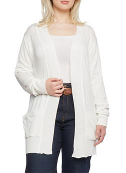 Plus Size Long Cardigan with Open Front - 1920038346409