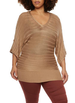 Plus Size Dolman Sleeve Sweater with Buttons - 1920038346433